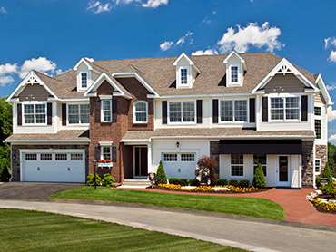 exterior elevation of townhome building at greyledge estates