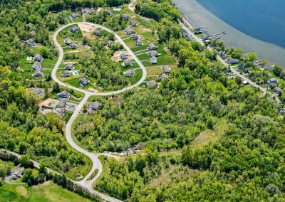 aerial of the winding brook estates community