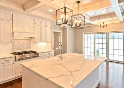 large island with coffered ceiling
